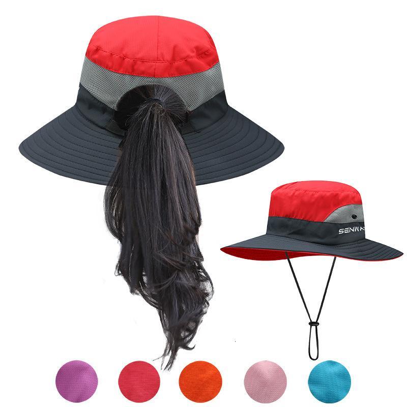 Pesca UPF50 + Ligera Sombrero de sol mujeres Cola de caballo del sombrero del cubo de verano Turismo casquillo de la protección UV Flap transpirable sombrero de la playa al aire libre