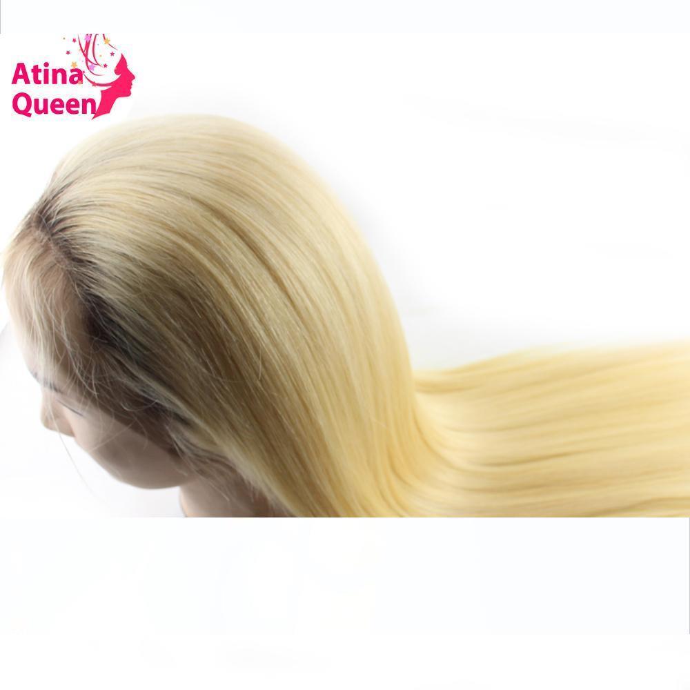 Atina regina diritta 1b 613 Lace Glueless parrucche piene dei capelli umani con capelli del bambino Ombre 4 613 Roots chiari per Black Women