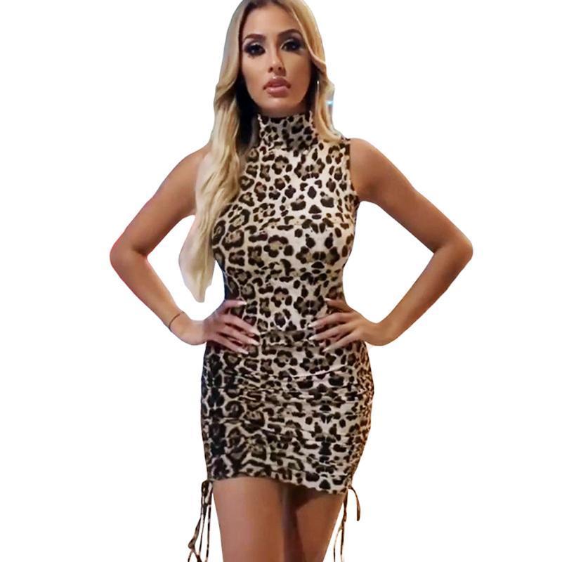 Sexy Ladies Leopard Robe courte Col haut sans manches Cheetah Imprimer bodycon Club de Slim Flapper Nuit Hot Party Vendre Mini robes