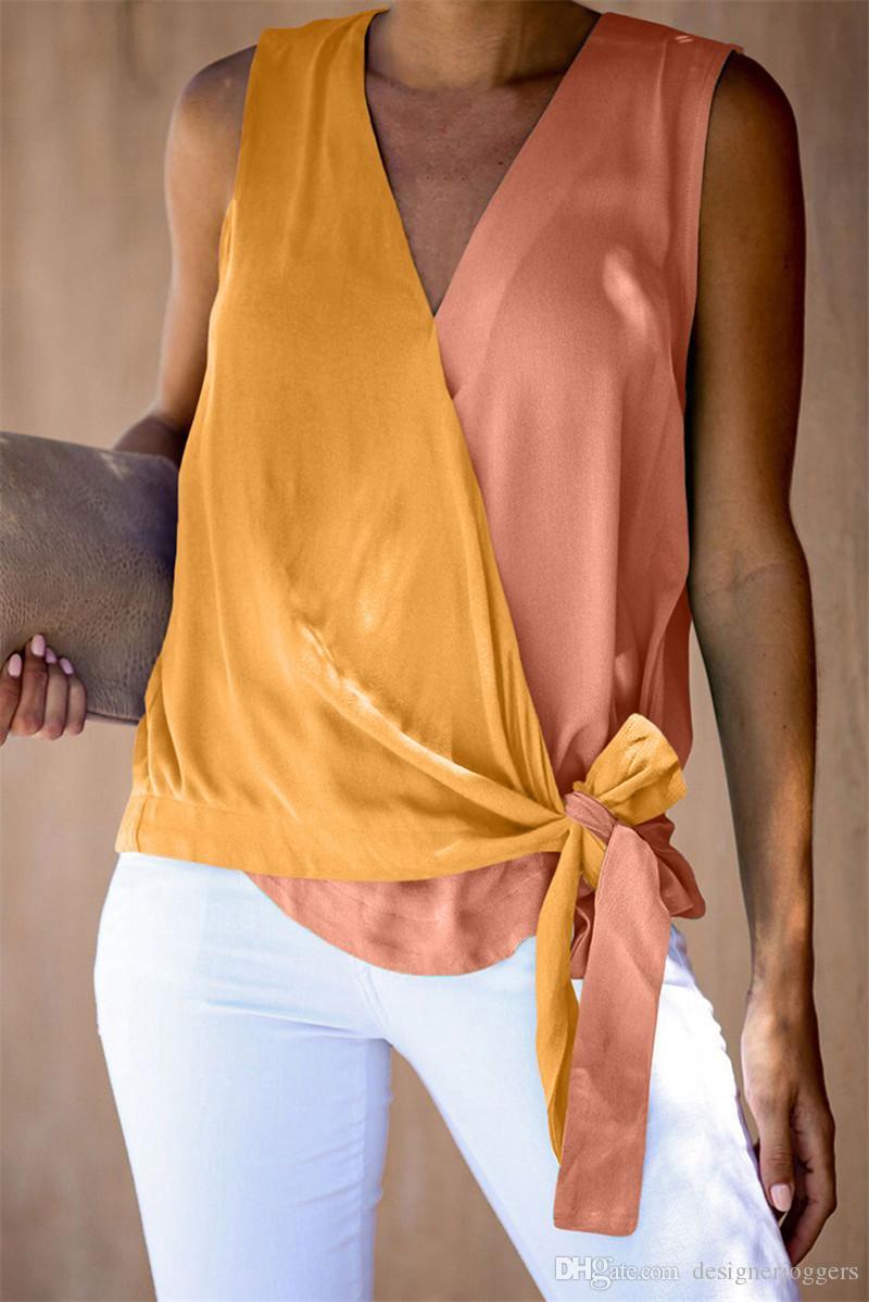 2020 femmes d'été lambrissé camisoles Fashion Designer Sexy Ladies veste avec ruban Casual Slim Femme Apparel