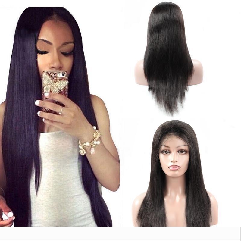 Mink brasileira linha reta cabelo humano laço completo perucas peruana Hetero frente do laço do cabelo humano de 360 perucas não-Remy Pré-arrancada perucas completas do laço