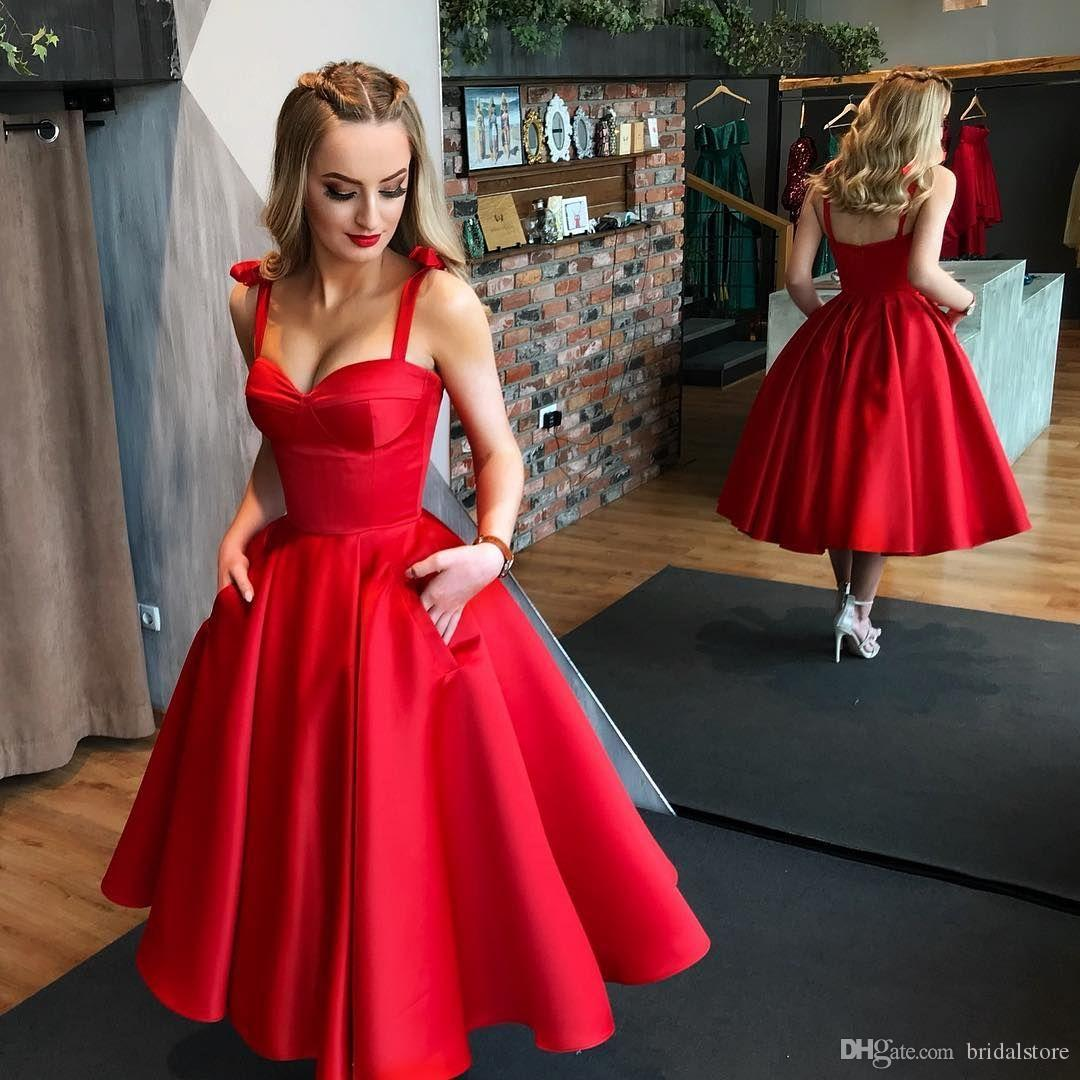 Fitted Tea Length Ruby Red Prom Dresses Spaghetti Straps A Line Sexy Backless Midi Evening Gown Plus Size Cocktail Party Dresses With Pocket
