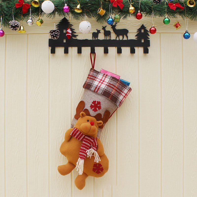 Hot Sale Christmas Candy Bag Santa Claus Socks Pendant Father Christmas Doll Snowman Elf Elk Toy Doll Window Decoration Supplie