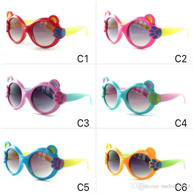 Frame Cartoon Kinder 6 Kleine Bär Sonnenbrille Brillen Niedlichen UV400 Sun New Claw Bunte Farben Kinder Gläser Brqwi