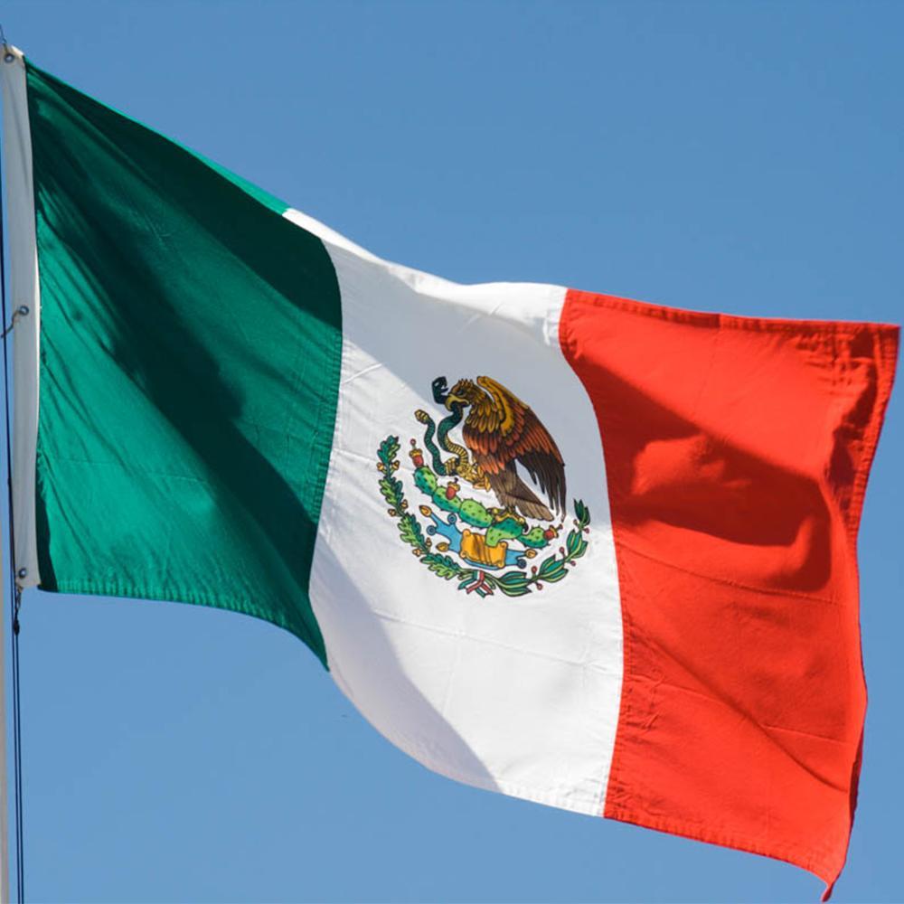멕시코 플래그 90 x150cm 새로운 디자인 사용자 정의 배너 국기 100 % 고품질 폴리 에스테르 직물, 무료 배송