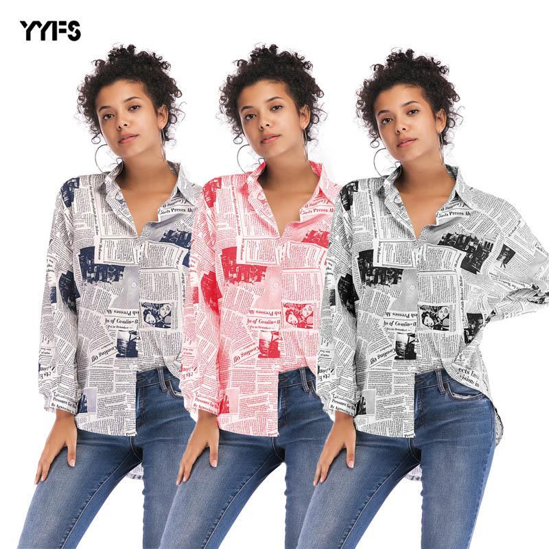 2019 moda mujer carta impresión periódico camisa mujer salvaje manga larga camisa tendencia de ocio