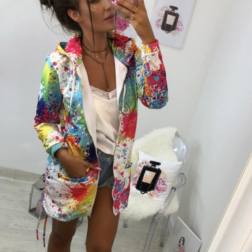 여성 아우터 코트 재킷 패션 넥타이 염색 인쇄 착실히 보내다 스웨터 후드 외투 코트와 재킷 여성 무료 배송