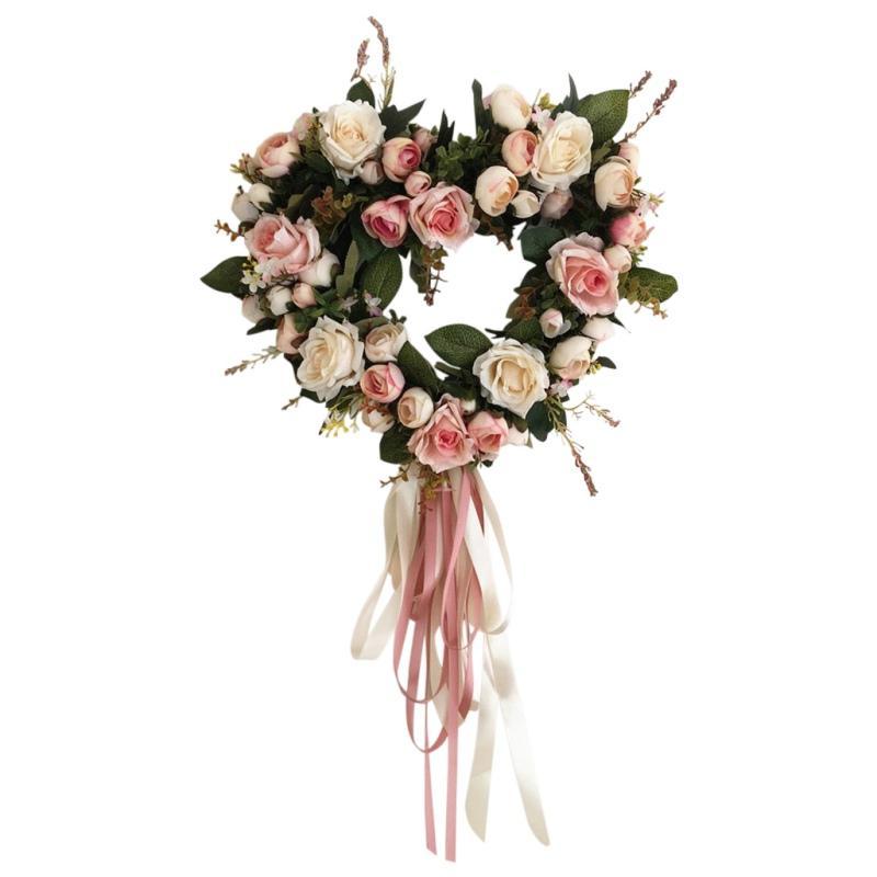 En forma de corazón artificial formado redondo de Rose de la flor artificial de la guirnalda para el regalo del día de decoración del hogar decoración de la boda de San Valentín