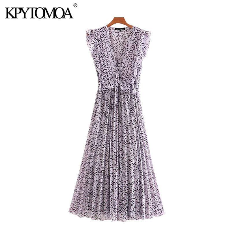 KPYTOMOA Women 2020 Chic Fashion Pleated Printed Ruffled Midi Dress Vintage Sleeveless Elastic Waist Tied Female Dresses Mujer