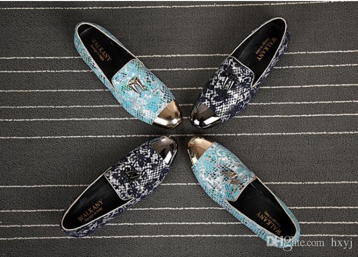 Artesanais pintados Mens Loafers flats Sapato de bico fino Masculino Vestido de Noiva Casual calçado antiderrapante Em Hairstylist couro esteticista H298 Shoe