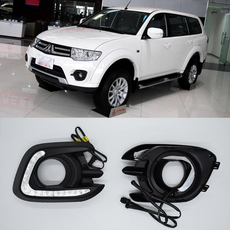 1Pair ECAHAYAKU Car LED Daytime Running Lights LED DRL with Turn signal Yellow Flashing E11 for Pajero 2014 2015 Fog Lamp Covers
