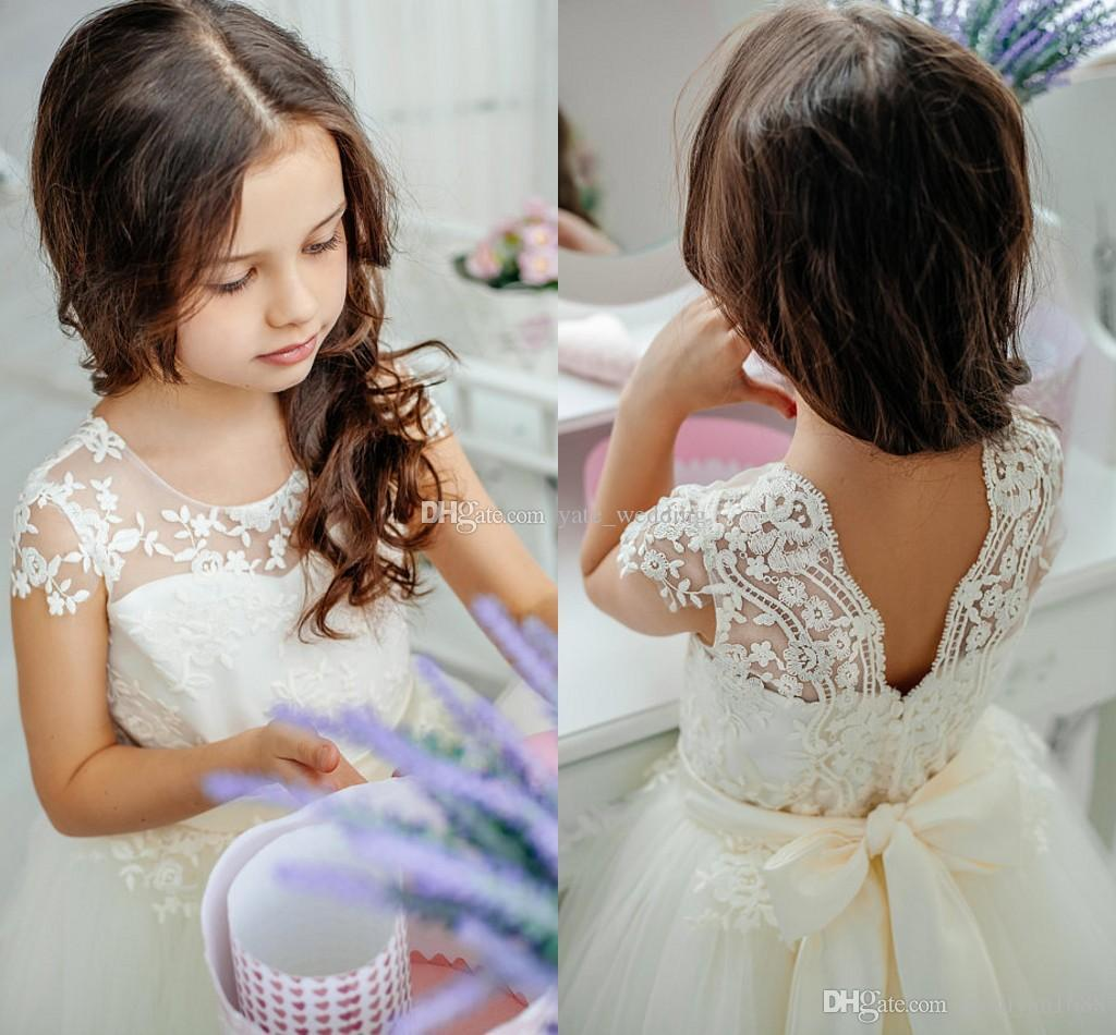 Cute Princess Flower Girls Dresses Lace Tulle Floor Length Cap Sleeves Birthday Party Dresses First Communion Dresses With Ribbon Sash231
