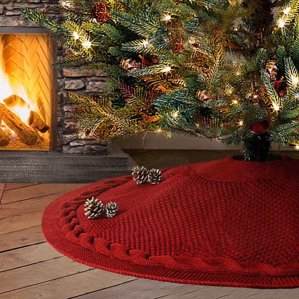 48 Zoll Weihnachtsbaum Rock Große Burgunder Zopfmuster Strick verdicken Rustic Baumwollleinenrock Weihnachtsbaum Feiertags-Dekorationen
