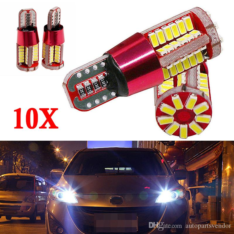 10X T10 501 194 W5W 3014 57SMD LED Bombillas de luz de estacionamiento Canbus Blanco Marcador de automóvil Luces de separación de cuña automática Luces de estacionamiento de bombilla Luz lateral