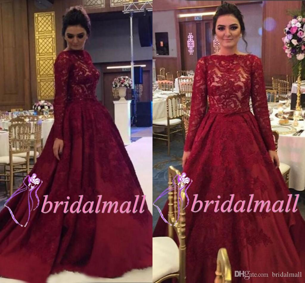 Burgundy Lace Long Sleeve African Evening Dresses 2019 African Formal Evening Gowns Plus Size Arabic Long Prom Dress Dubai Vestido De Fiesta Shop