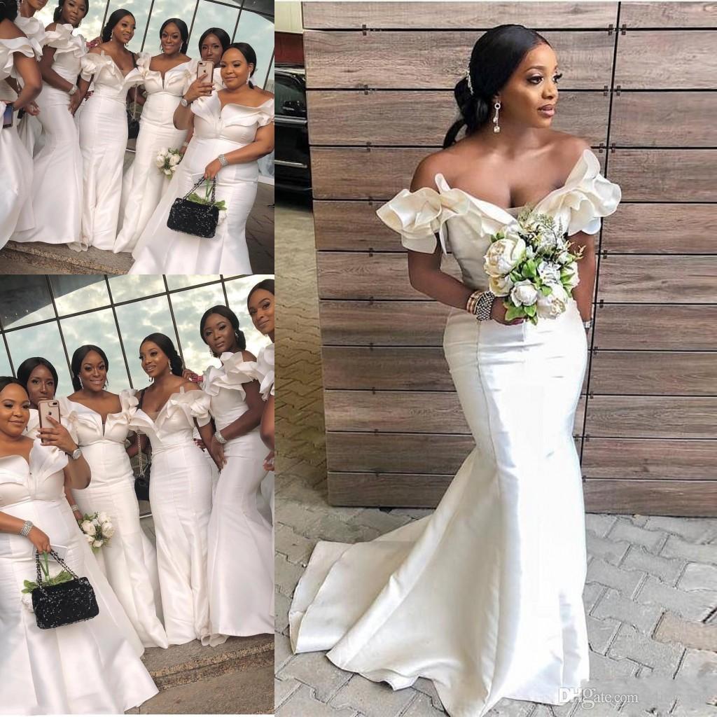 Onur Modelleri Saten Cap Kollu Plus Size Düğün Misafir Elbise Of Güney Afrika Denizkızı Gelinlik Modelleri Uzun Kapalı Omuz Ruffles Hizmetçi