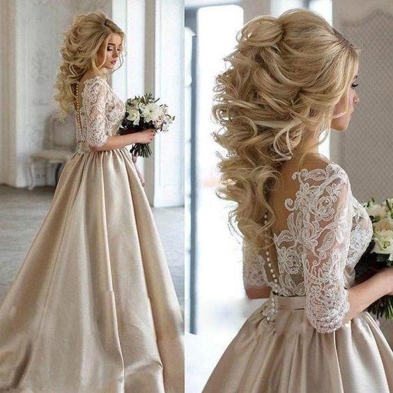 Champagne Satin White Lace Plunging V-neck Wedding Dresses Empire Waist 2020 Half Long Sleeves Ruched Vestidos De Novia Wedding Gowns