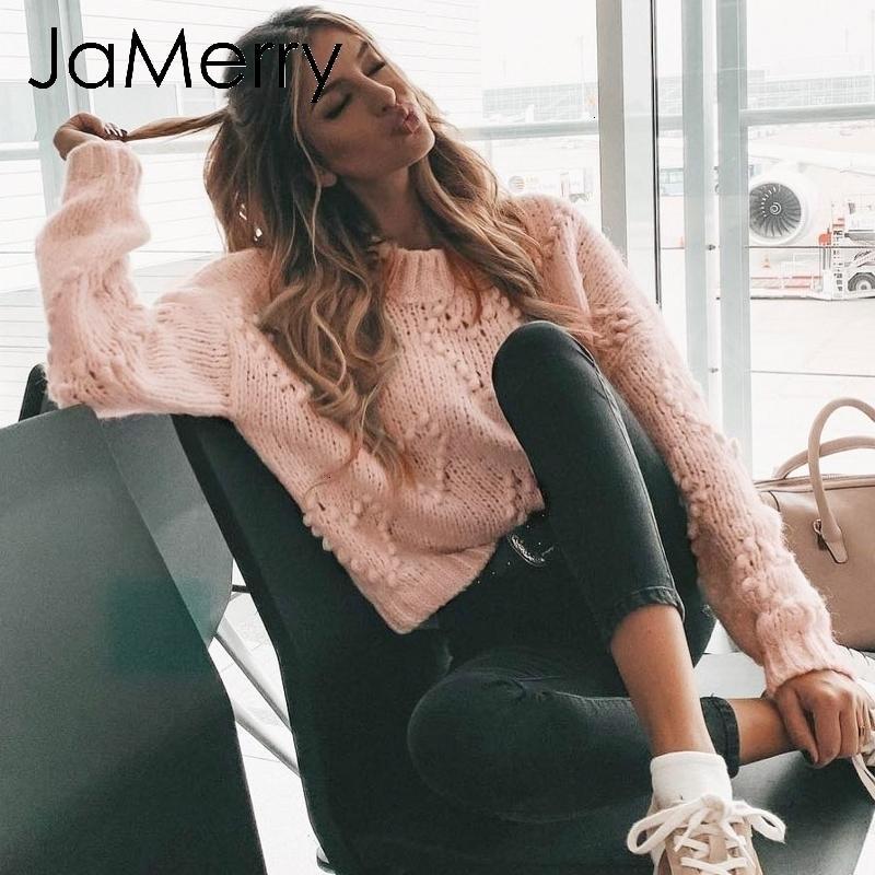 JaMerry Урожай розовый Hairball осень зима свитера дамы с длинным рукавом случайные пуловер 2019 моды шикарный свободный вязаный jumperMX190926