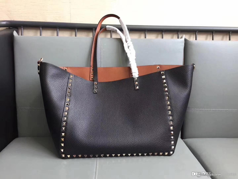 Donne classico San Valentino pelle bovina reale rivetto Genuine Leather borsa superiore qualità Doppio classica rock borse per lo shopping grande borsa