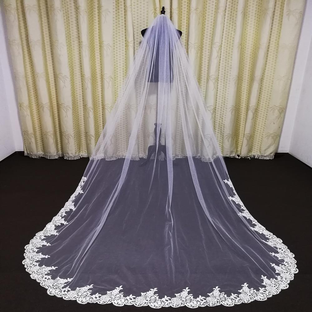 3 Meter Long White Ivory Wedding Veils Lace Edge Bridal Veil with Comb Wedding Accessories Bride Chapel Veils In Stock