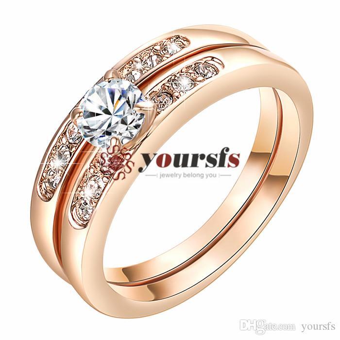 Vendita calda Spedizione Gratuita emulational è Diamond 2 in 1 Elegante Anello di Fidanzamento in Oro Bianco 18K Placcato Utilizzare Austria Cristallo Anello del Partito R156W1