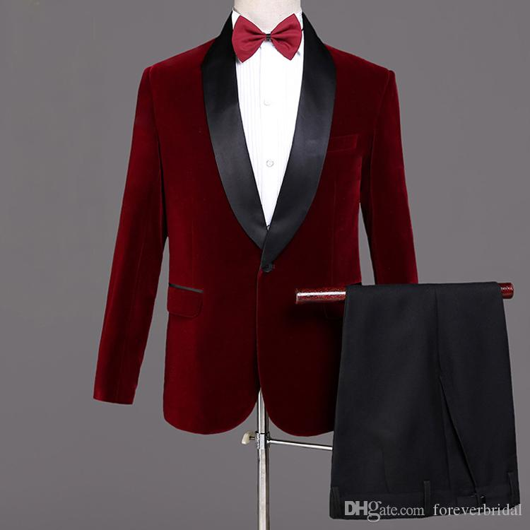 Cheap Handsome Groom Wedding Tuxedos Red One Button Men Suits Black Shawl Lapel 2 Pieces Groomsmen Wear