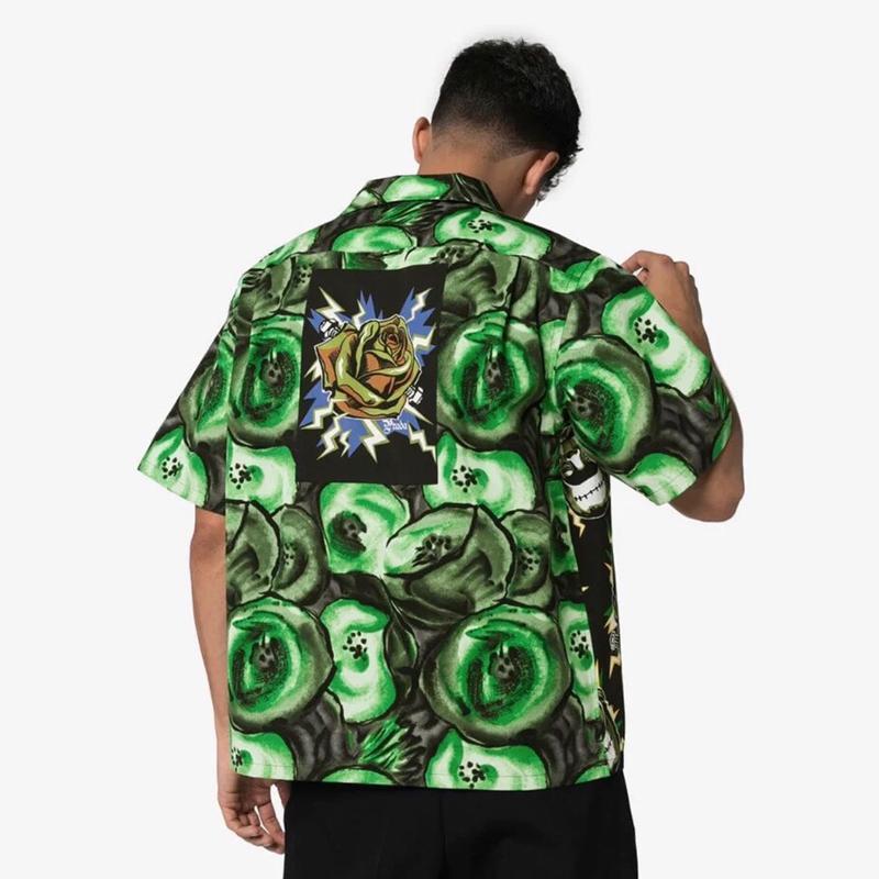 19SS ميلانو فرانكشتاين القميص الأخضر الصيف شاطئ الرجال النساء تي شيرت أزياء عارضة الشارع عطلة الكيوي أبلى سترات HFLSCS039
