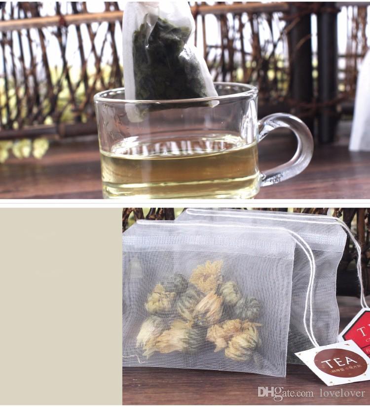 جودة عالية فارغة أكياس الشاي النايلون أكياس شفافة مع سلسلة ملصقات كيس الشاي مرشح 20 قطعة / الوحدة