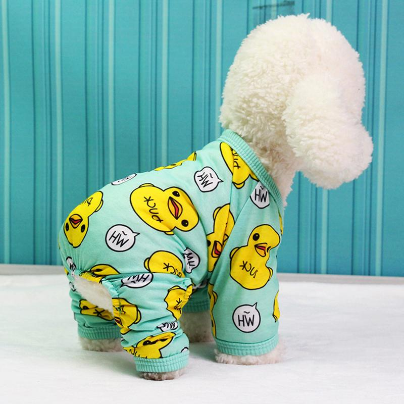 Spring Summer Pets Jumpsuits Pajamas Duck Printed Pet Dog Clothes Soft Cotton Puppy Dog Cat Clothing Dog Coat Jackets