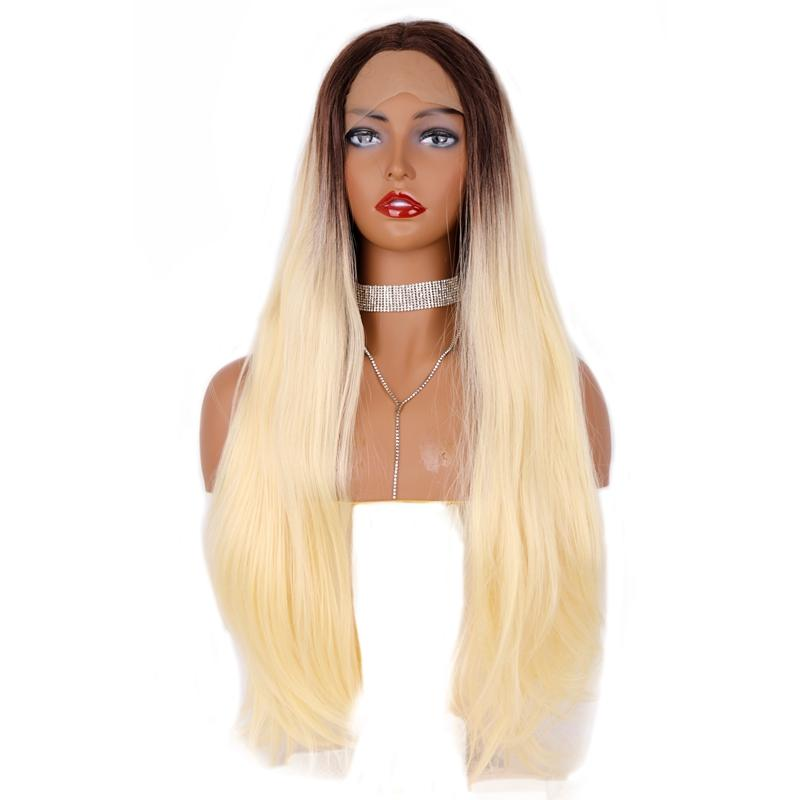 Hot Fashion Long Straight Wigs 24inch Heat Resisitant Blonde Lace Front Wig With Brown Roots 180% Density Glueless Synthetic Hair For Women
