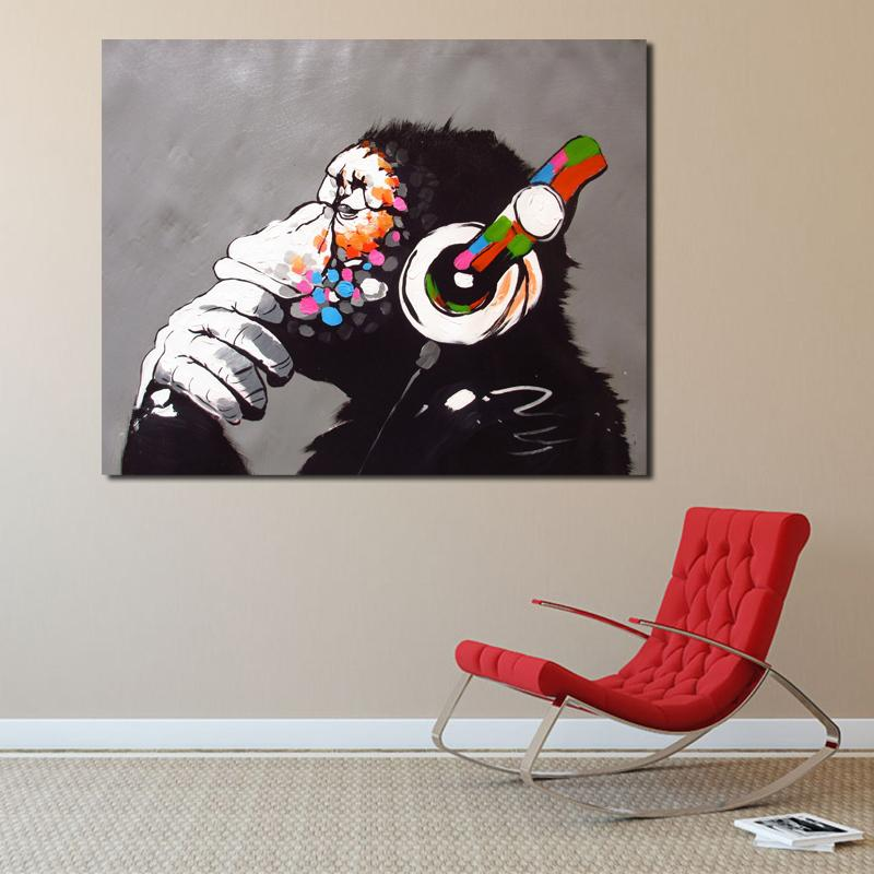 Banksy DJ Monkey Thinker With Headphones Graffiti Canvas Posters Prints Wall Art Painting Decorative Picture Home Decoration HD