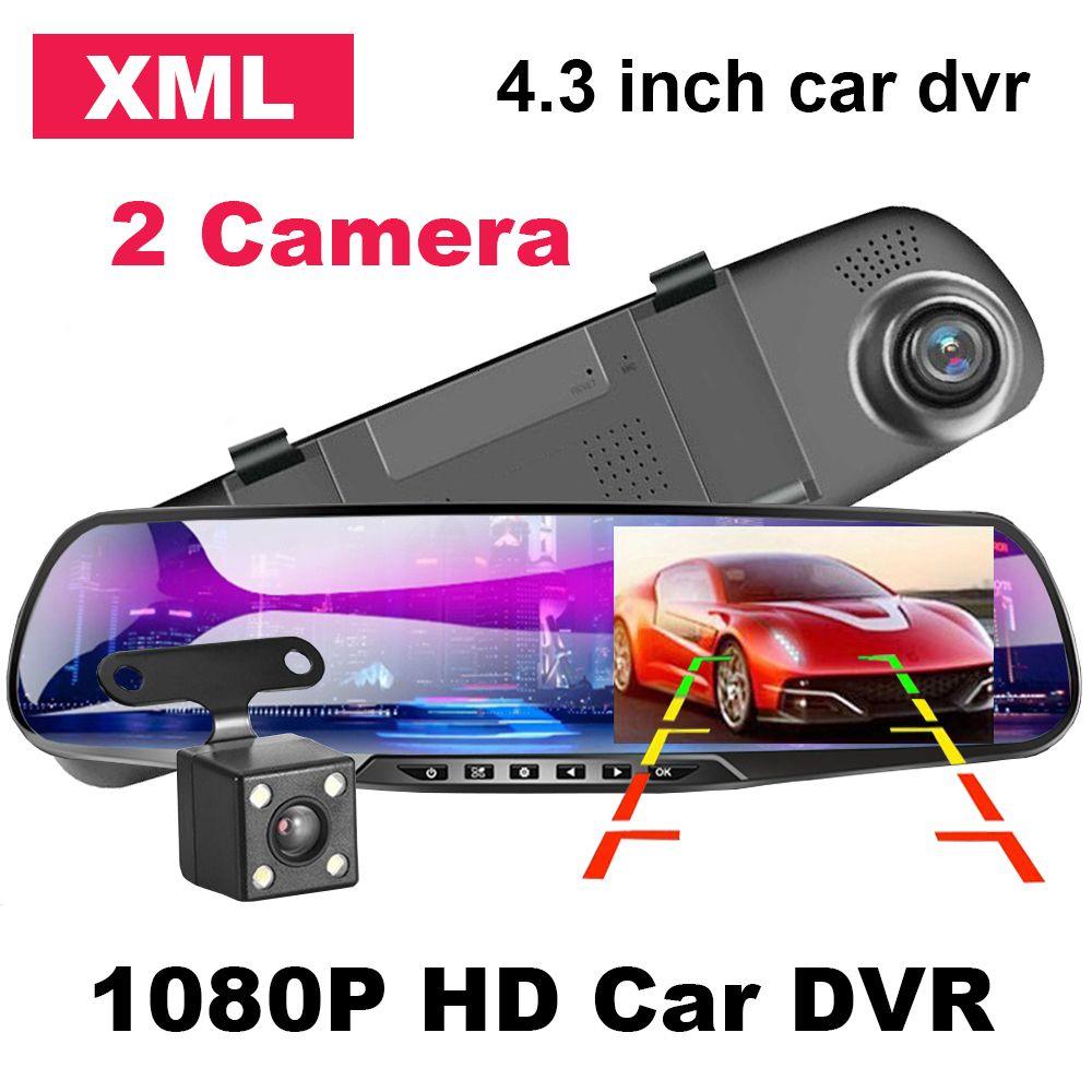 Ultime automobile DVR 4.3 pollici macchina fotografica del precipitare FHD 1080P dell'automobile doppia dell'obiettivo specchio retrovisore della macchina fotografica con Rear View Video Auto Recorder