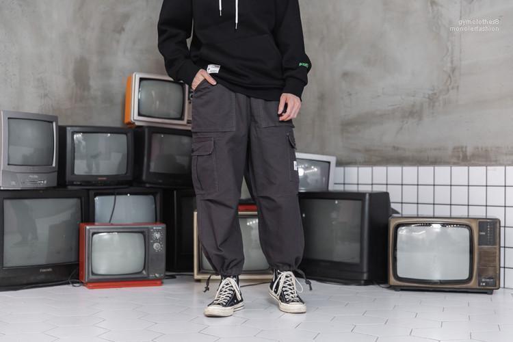Adolescente Zipper Fly lápis faixa calças calças cargo para o sexo masculino calças soltas Casual Primavera Outono Moda Calças