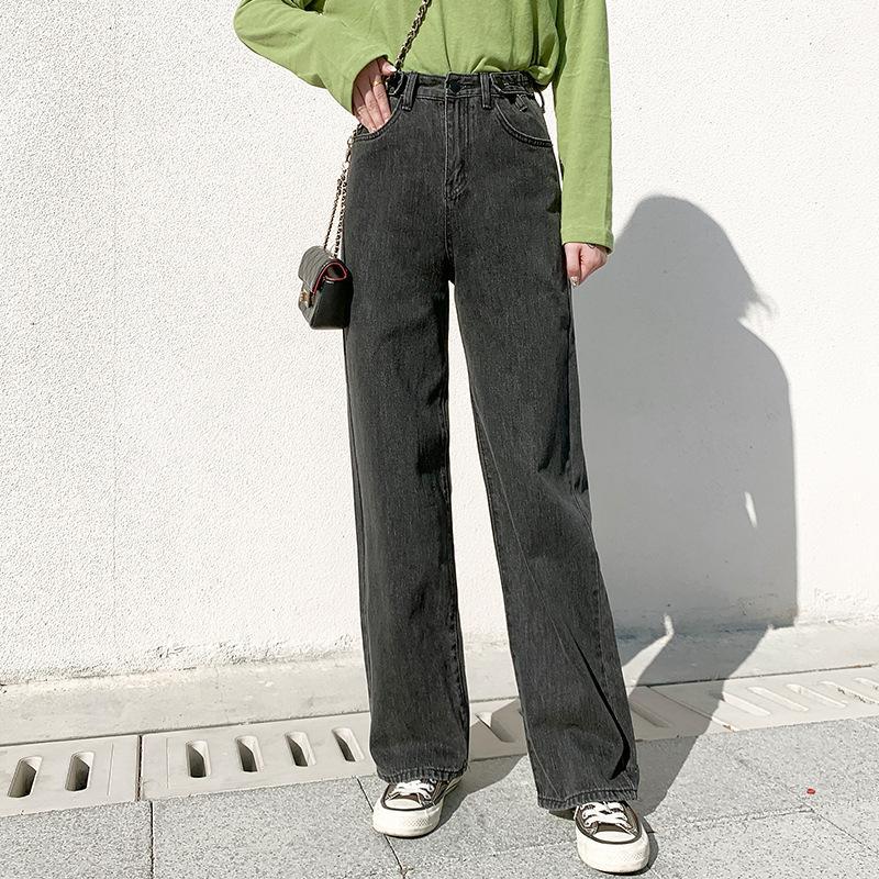 Новая весна / лето 2020 с высокой талией мульти-пряжка прямые ноги широкие джинсовые швабры для женщин
