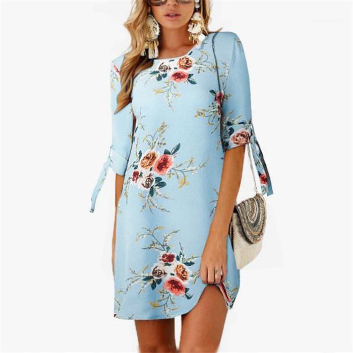 원피스 여성 의류 여성 섹시한 드레스 여름 다섯째 슬리브 꽃 프린트 드레스 O-목 레이스 시폰 원피스 레이디 하나