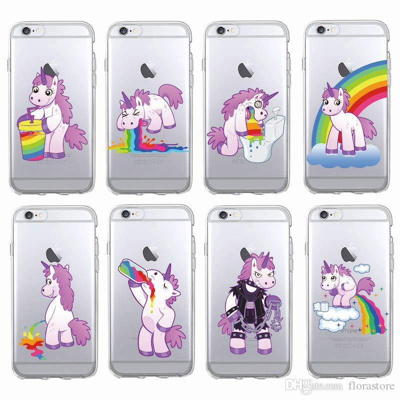 Wholesale 6 Style Pink Girl Unicorn Phone Cover Clear TPU Unicorn Phone Case for iPhone 7 8PLUS XR X MAX 11 PRO