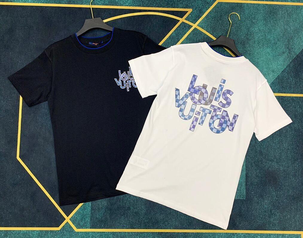 2020 t-shirt novo gradual azul impressão de manga curta com alta qualidade de algodão mercerizado para homens e mulheres