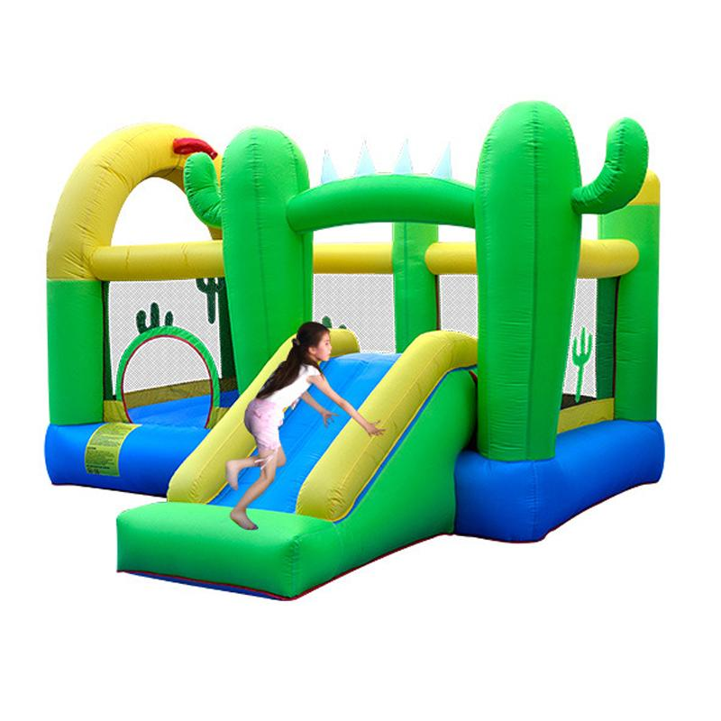 Inflatable Cactus Bouncer Slide with hoop Playground Cactus Bounce House Castle Jumper Moonwalk With Basketball Hoop