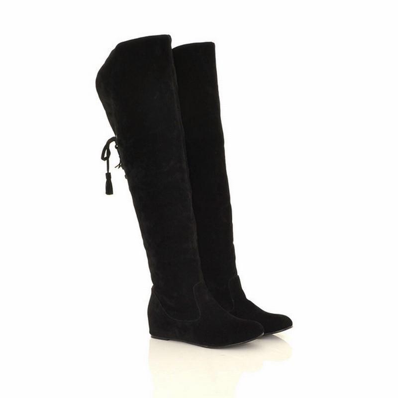 Hot Sale-s caldo di inverno delle donne sopra il ginocchio a metà coscia stivali altezza crescente Scarpe Donna ADF-8574
