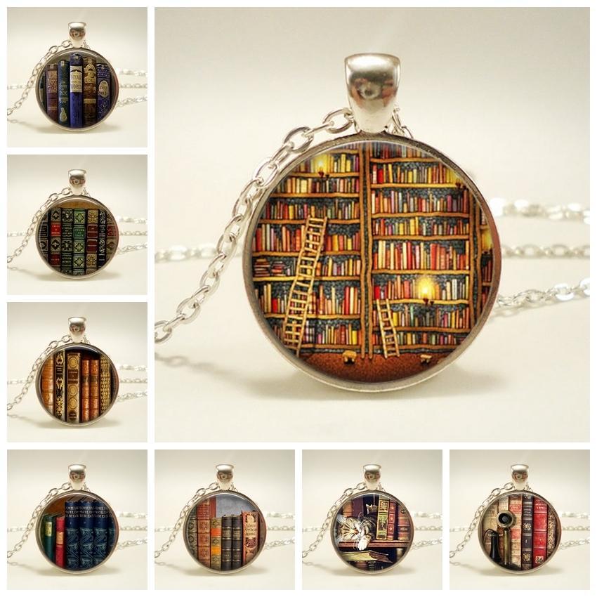 Nova Moda Colar De Vidro Cúpula Do Vintage Biblioteca E Livros Pingentes Colar Para Estudantes Professores E Bibliotecários Colar