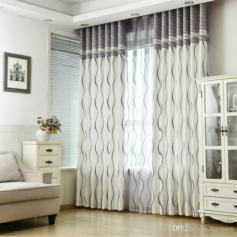 New listrada ondulada Cortina Blackout para Sala Quarto Design moderno cortinas Blackout cortinas decoração Home For Kids quarto