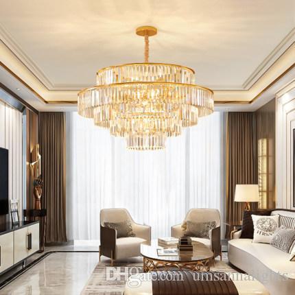 LED Modern K9 Kristal Avizeler Amerikan Kristal Avize Işıklar Armatür Otel Yemek Odası Yatak Salon Yuvarlak Ev İç Aydınlatma