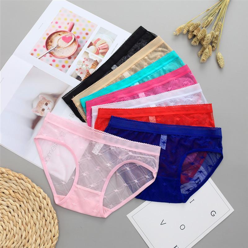 Sexy Seamless Briefs transparentes roupas íntimas femininas Calcinhas Ultra-fino Mulheres Briefs Lace Sexy Panty algodão Cuecas Plus Size 39