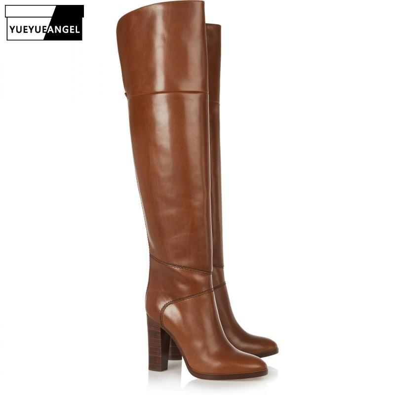 Plus Size 46 Brown High Heels Over the Knee Boots Woman Elegant Block Winter Thick Warm Long Boots Side Zip Runway High