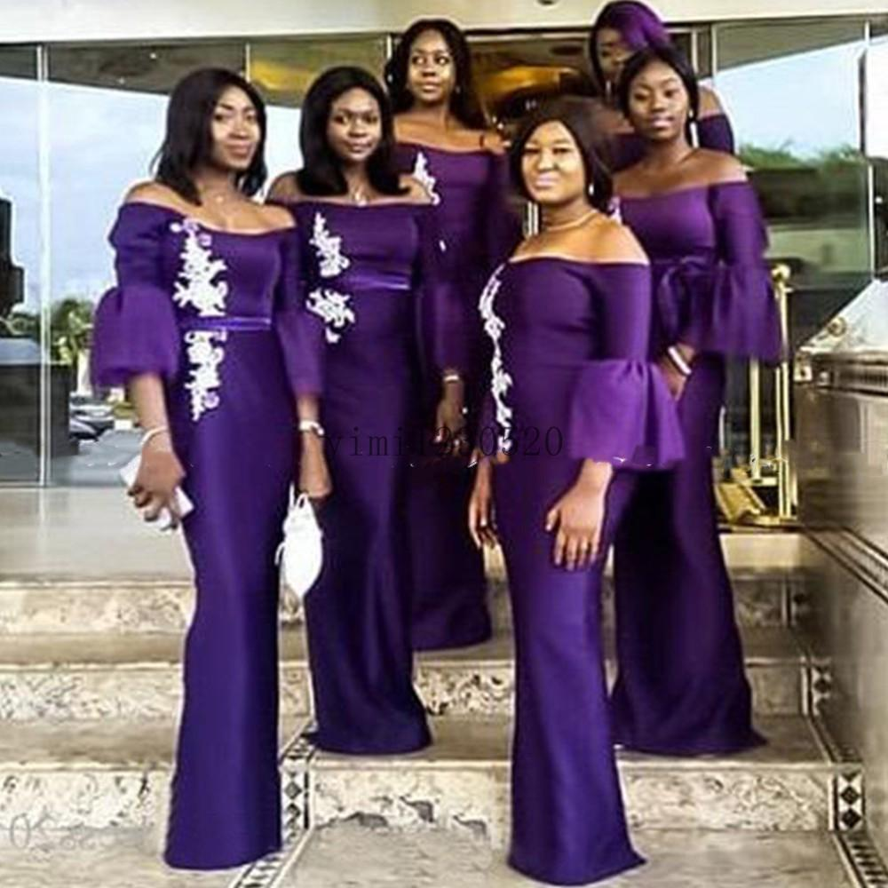 Purple Mermaid Bridesmaid Dresses 2020 Off Shoulder 3/4 Long Trumpet Sleeve White Appliques Garden Wedding Guest Gowns Maid of Honor Dress