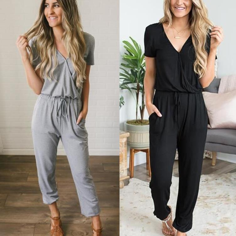 New Deep V Sexy Women Jumpsuits Wine Red Boot Cut Chiffon Female Rompers Fashion Clothing for women rompers