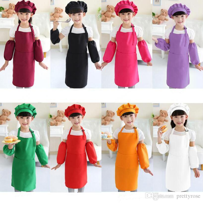 Kids Aprons Pocket Craft Cooking Baking Art Painting Kids Kitchen Dining Bib Children Aprons Kids Aprons 12 colors Free Shipping DHL