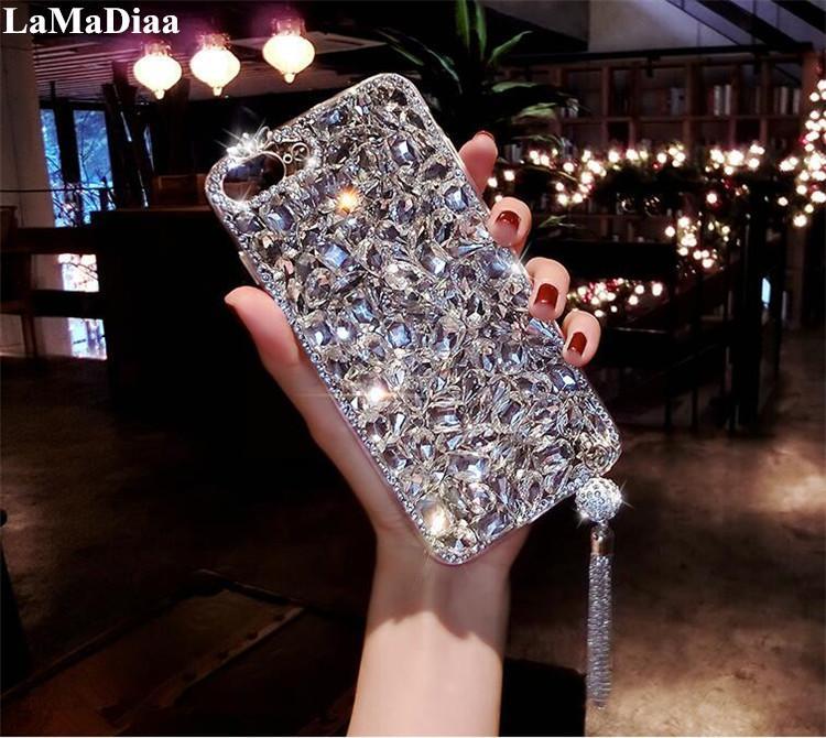 Оптовая Роскошные Bling 3D Изукрашенный Алмаз Мягкая Задняя Подвеска Телефон Чехол Для Samsung S6 S7 край S8 S9 Plus Note 5 8 9 оболочки
