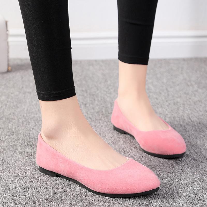 Yaz basit yumuşak kız tatlı yuvarlak ayak ayakkabı düz alt kız öğrenci ofis bayan sürücü araba beyaz ayakkabı tembel daireler