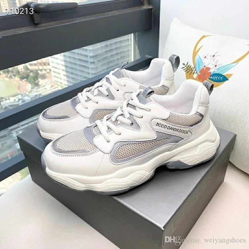 2019 Sonbahar Yeni Deri Eski ayakkabı Kadın Mesh Nefes Spor Ayakkabı Ayakkabı Tide Running Kadın Kalın tabana vurma öğrenciler